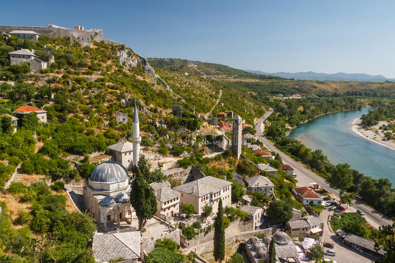 A view over old town of Pocitelj royalty free stock photography