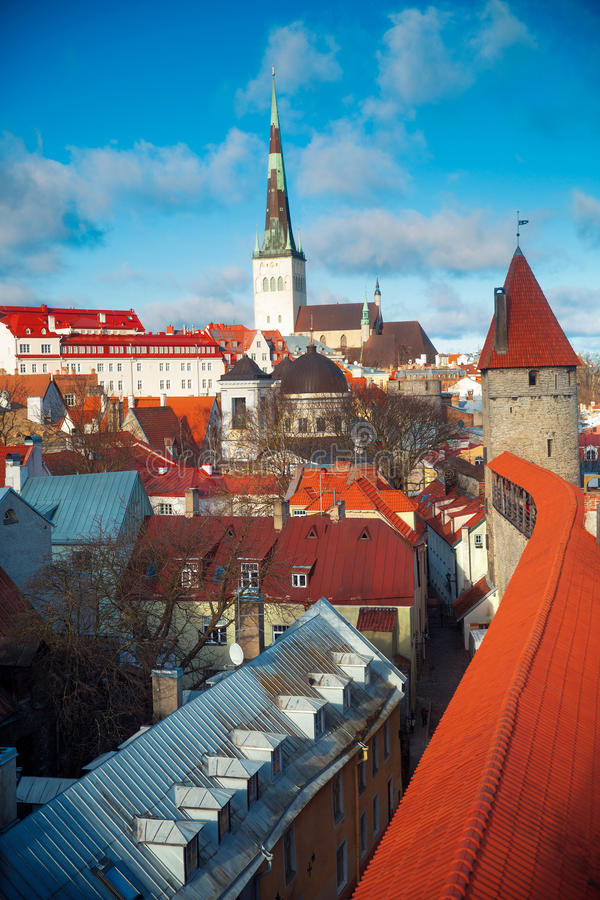 View over the Old Town of Tallinn stock image