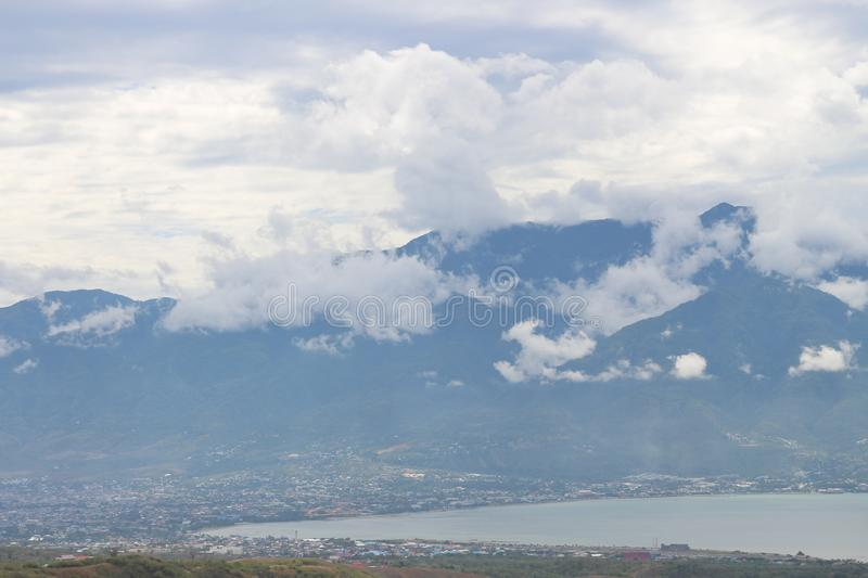 View over Palu Tim., Kota Palu, Sulawesi, Indonesia before tsunami. View over Palu from the Gong Perdamaian, Tondo, Palu Tim., Kota Palu, Sulawesi / Indonesia stock photography