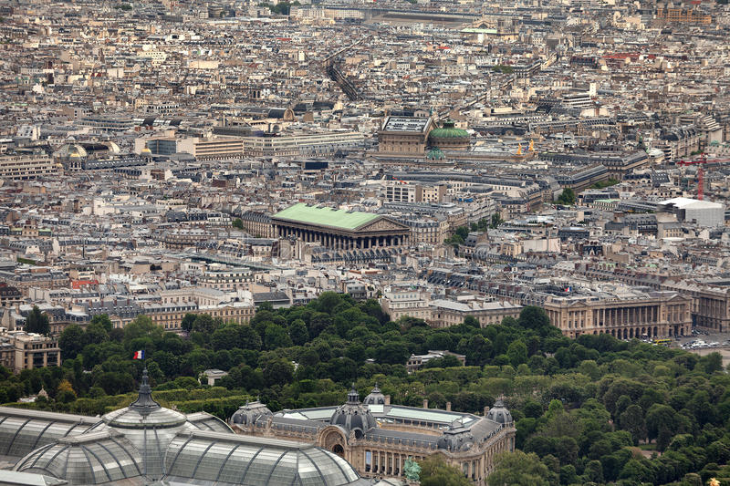 View over Paris. Elevated view of the buildings and suburbs of Paris, France, seen from the top of the Eiffel Tower royalty free stock photography