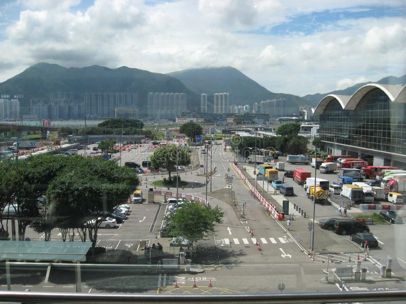 View from the airport towards Lantau island, Hong Kong stock photo