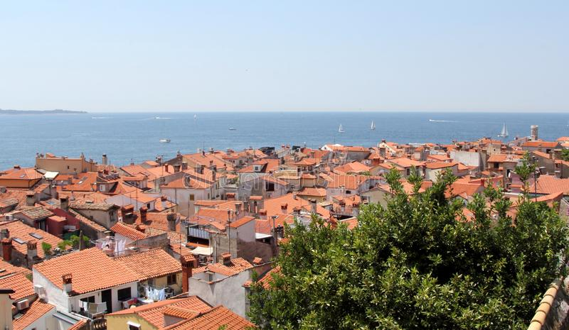 View over Piran, Slovenia royalty free stock images