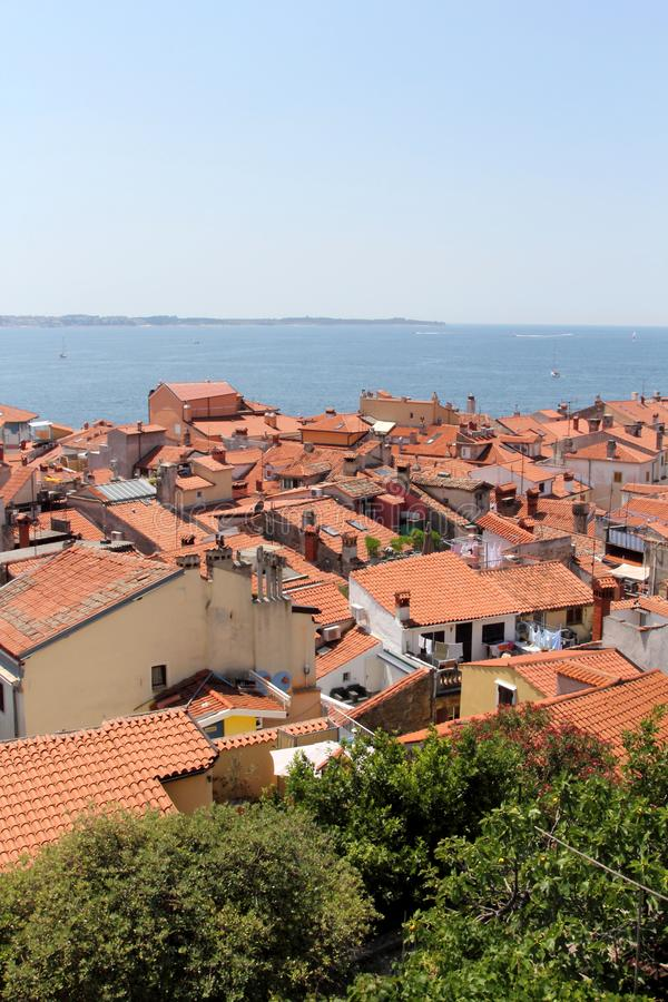 View over Piran, Slovenia stock images