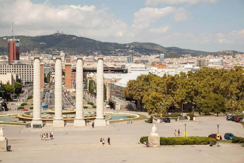 View over Placa de Espana in Barcelona, Spain royalty free stock photos