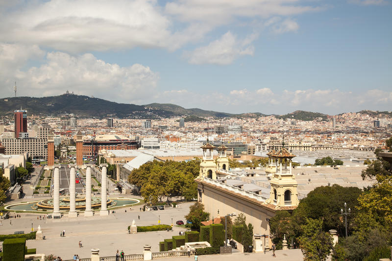 View over Placa de Espana in Barcelona, Spain royalty free stock photography