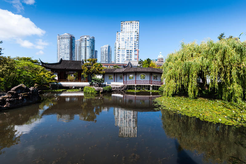 View over the pond in a classical Chinese garden. Dr. Sun Yat-Sen Classical Chinese Garden, Vancouver, BC, Canada royalty free stock photography