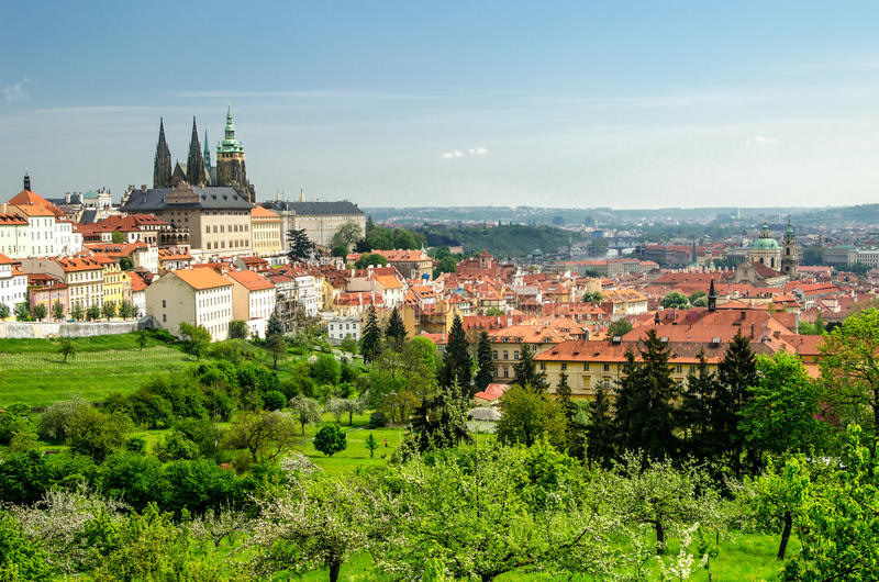 View over Prague from Strahov Monastery stock images