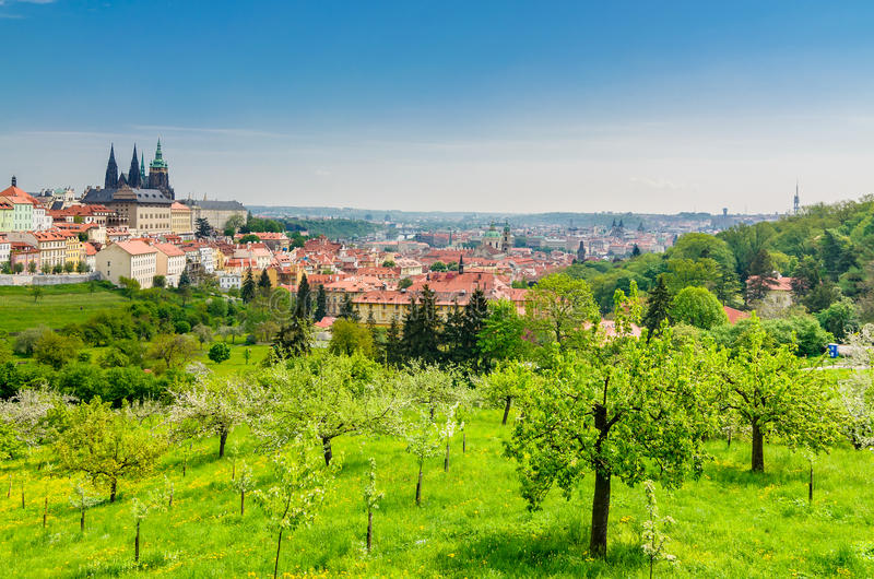View over Prague from Strahov Monastery stock image