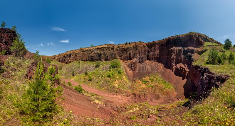 View over Racos extinct volcano in Brasov county Romania stock photos