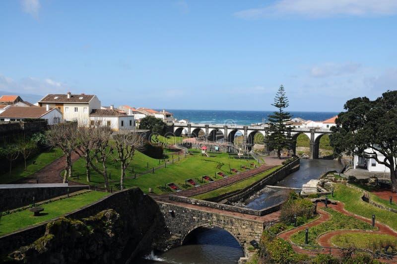 Ribeira Grande. View over Ribeira Grande, Azores islands, Portugal stock photos