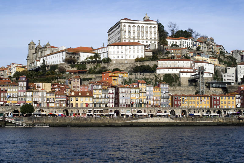 View over Ribeira - the old town of Porto, Portugal. Ribeira, Episcopal palace and the cathedral, along the Douro river royalty free stock photography