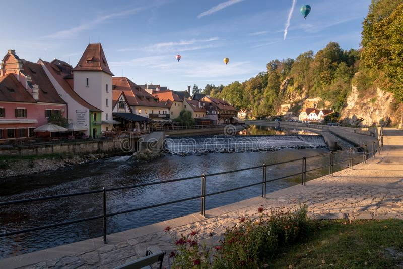 View over the river Vltava and the historic houses in Cesky Krumlov royalty free stock images