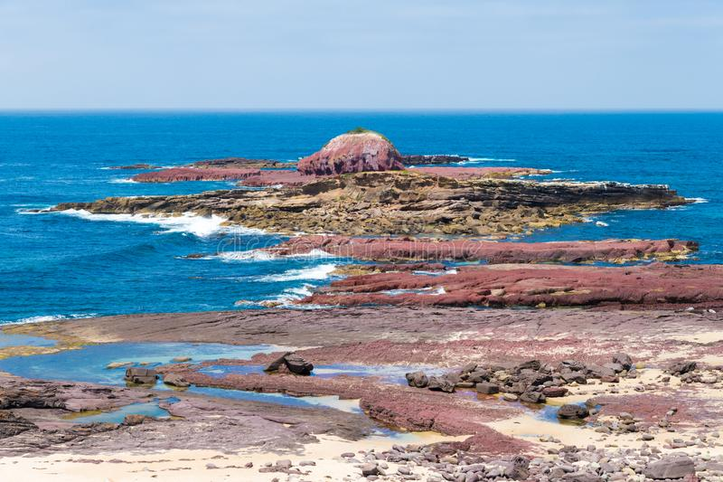 View over the rocky coastline at Heycock Point, known for whale watching, scenic coastal views and and birdwatching, in Ben Boyd stock images