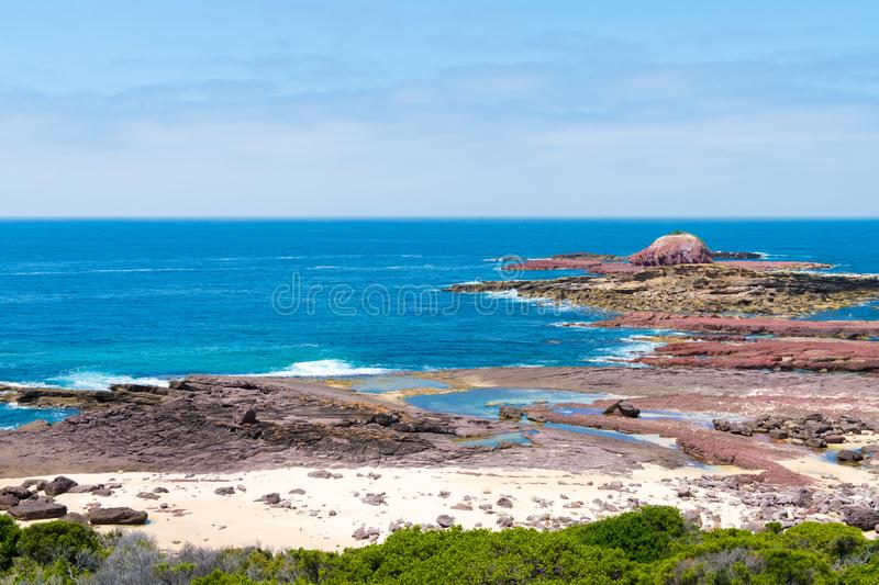 View over the rocky coastline at Heycock Point, known for whale watching, scenic coastal views and and birdwatching, in Ben Boyd. National Park, Australia stock image