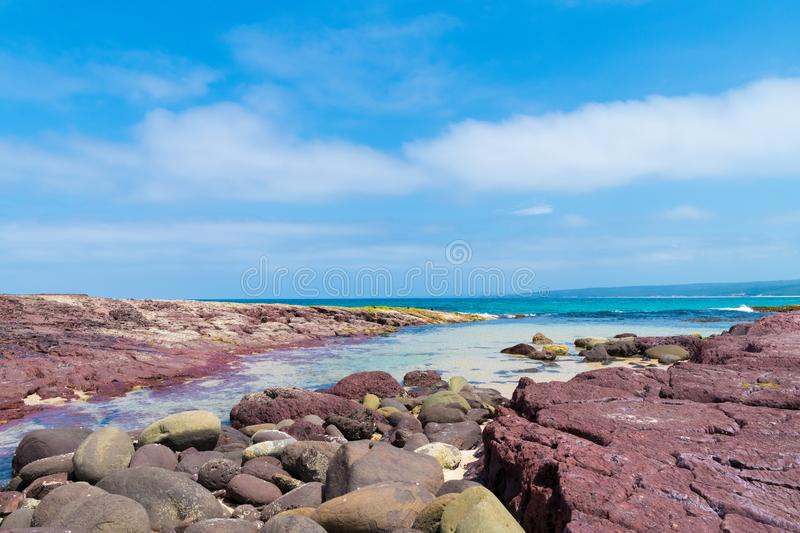 View over the rocky coastline at Heycock Point, known for whale watching, scenic coastal views and and birdwatching, in Ben Boyd royalty free stock images