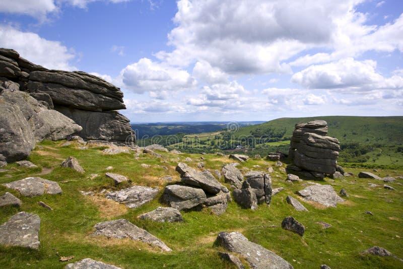 Scenic Devon - Dartmoor. A view over rolling Dartmoor countryside from Hound Tor, Devon, UK stock images