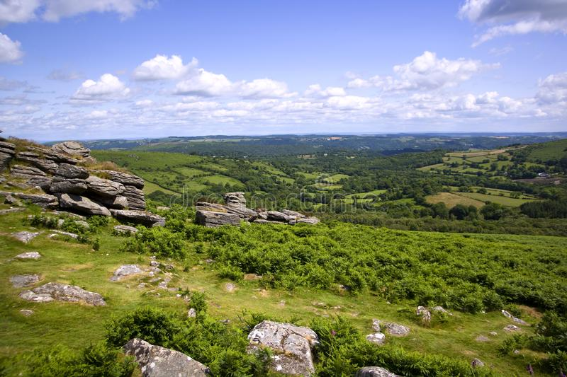 Scenic Devon - Dartmoor. A view over rolling Dartmoor countryside from Hound Tor, Devon, UK royalty free stock photography