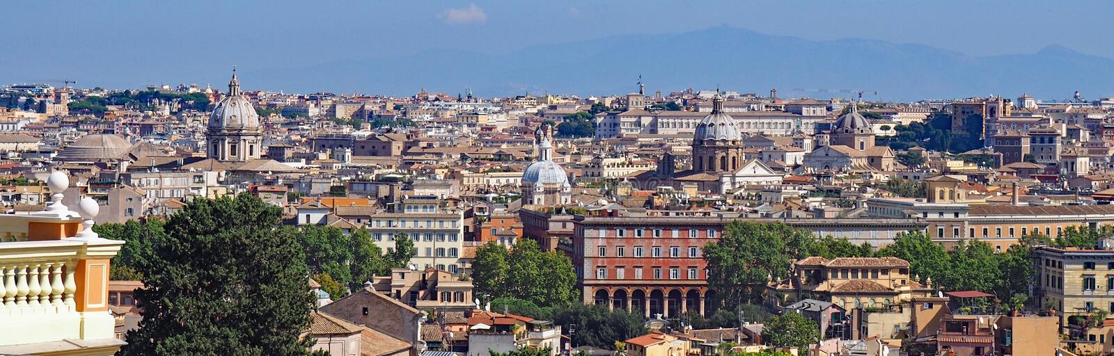View over Rome. A view looking towards the historic center of Rome, Italy royalty free stock image