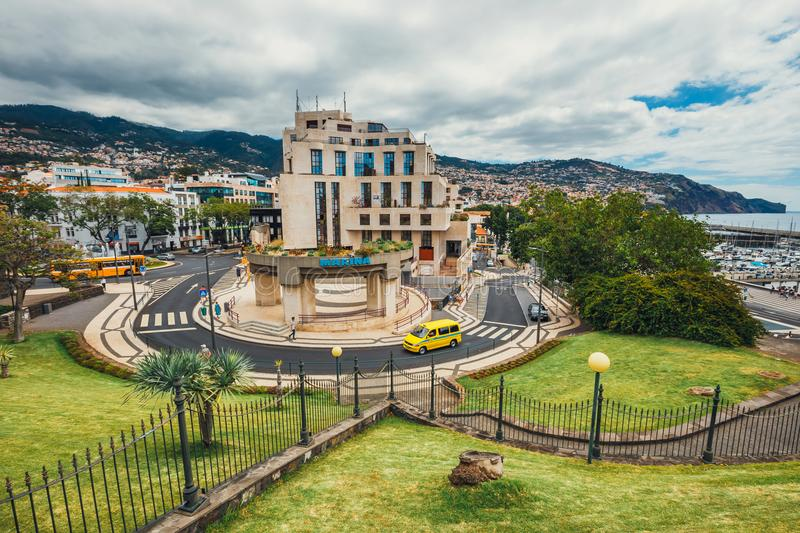 A view over the roof tops of buildings in Funchal, Madeira royalty free stock photo
