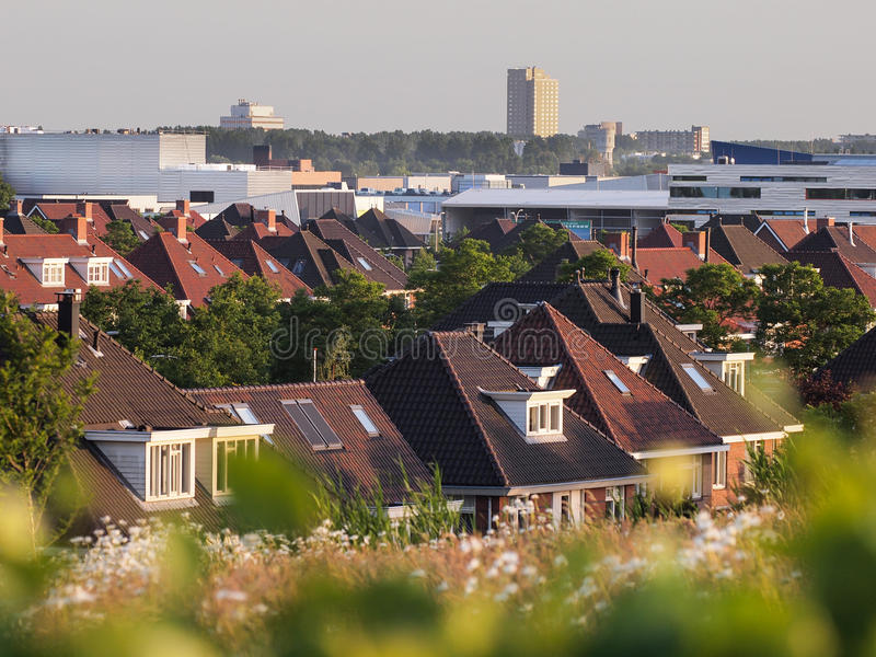 View over roofs of modern suburb, The Hague, Netherlands royalty free stock photo