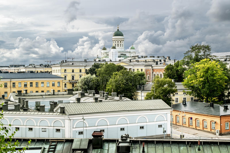 View over the rooftops and the Cathedral in Helsinki Senate square. In Finland stock image
