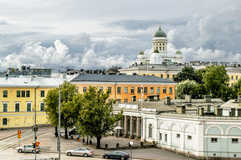 View over the rooftops and the Cathedral in Helsinki Senate square. In Finland stock images