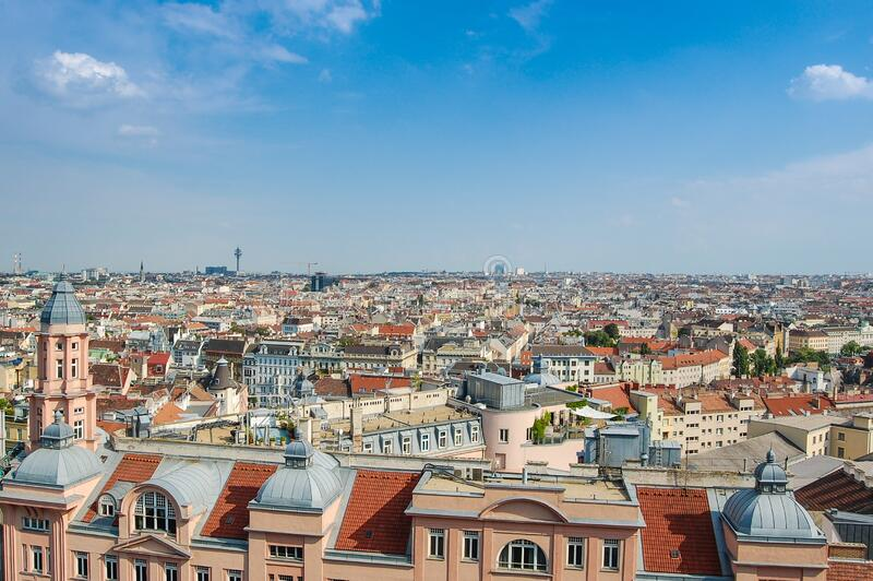 View over the rooftops in a city royalty free stock image