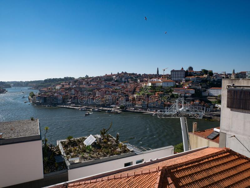 View over rooftops of Douro River and city of Porto, Portugal royalty free stock images