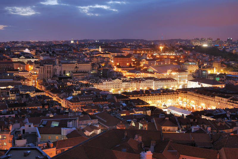 View over Rossio in Lisbon stock images