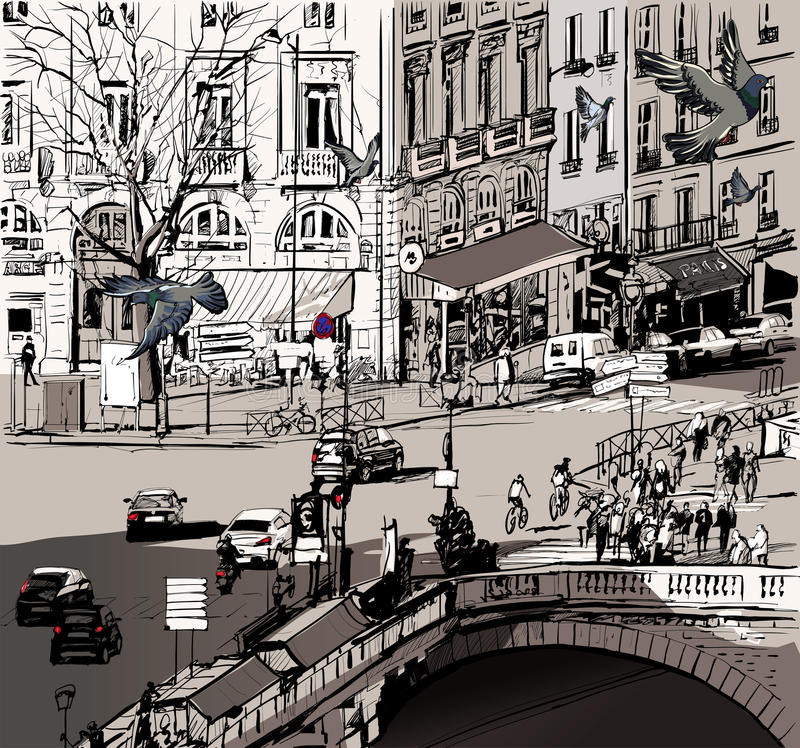 View over Saint Michel bridge in Paris stock illustration
