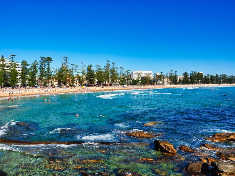 View Over Cabbage Tree Bay Rocks to Manly Beach, Sydney, Australia stock photos