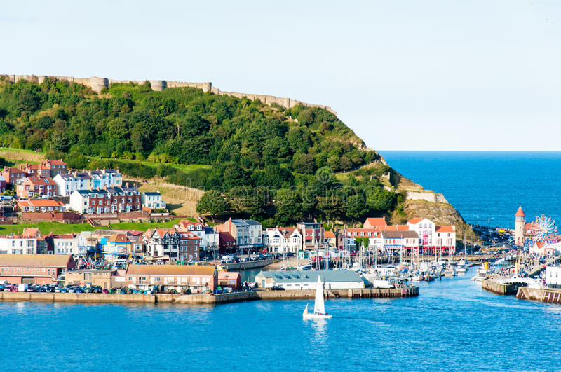 View over Scarborough South Bay harbor in North Yorskire, England stock images