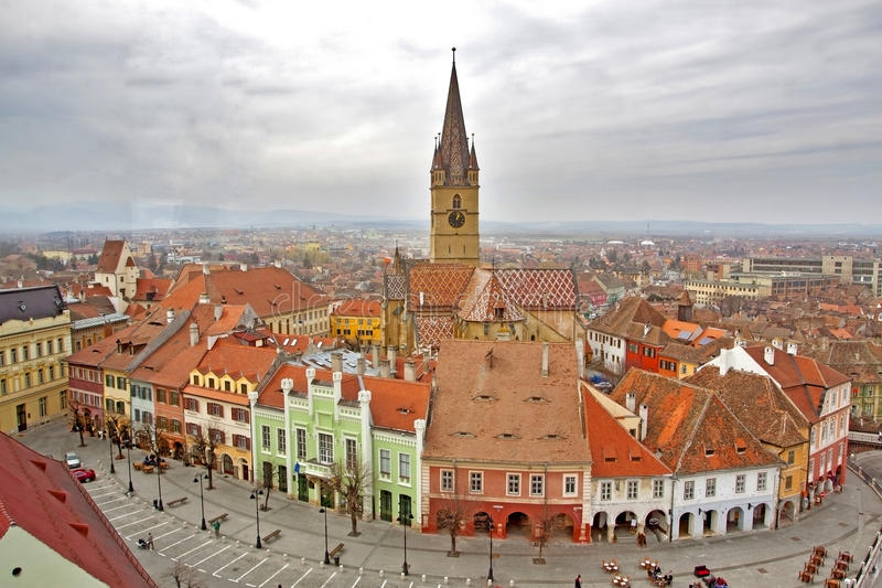 View over Sibiu city in Romania royalty free stock image