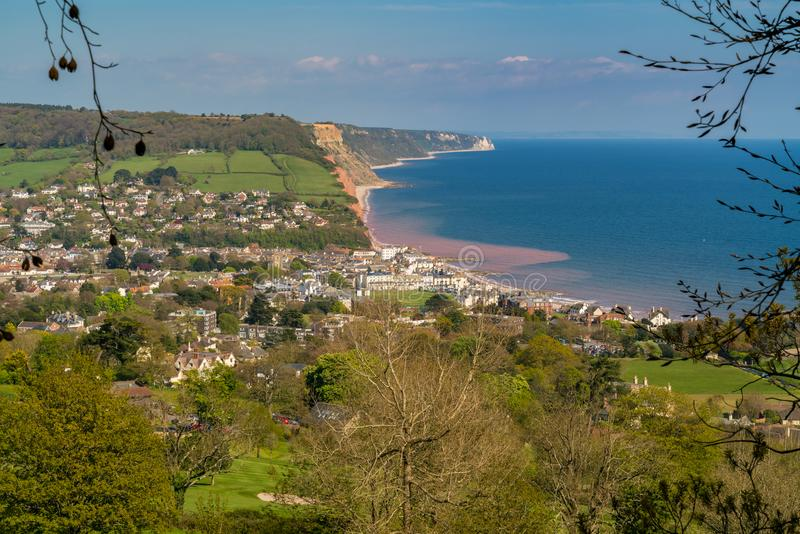 Sidmouth, Jurassic Coast, Devon, UK. View over Sidmouth at the Jurassic Coast, Devon, UK - seen from Peak Hill stock photo