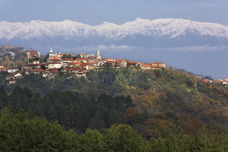 Sighnaghi, a small town in the Kakheti region, in Georgia with the Caucasus Mountains on the background. View over Sighnaghi in Georgia, Caucasus stock photos