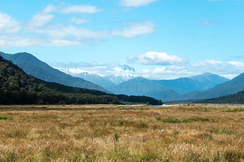 Towards Mount Cook from Pleasant Flats, Haast, New Zealand royalty free stock image
