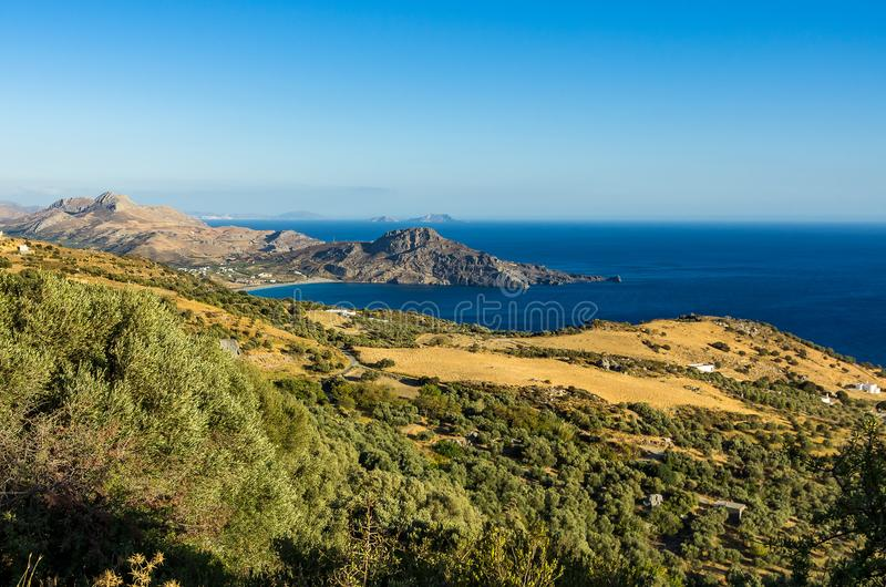 View over the south coast of Crete in the evening sun royalty free stock photos