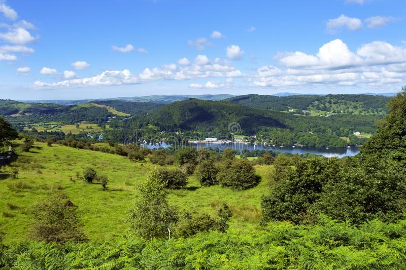 View over south end of Lake Windermere in The Lake District, Cumbria, UK stock images