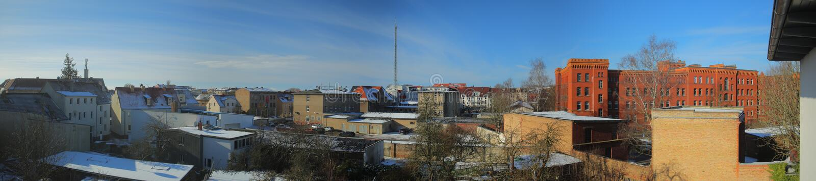View over southern part of the city of Greifswald, Germany.  royalty free stock photo