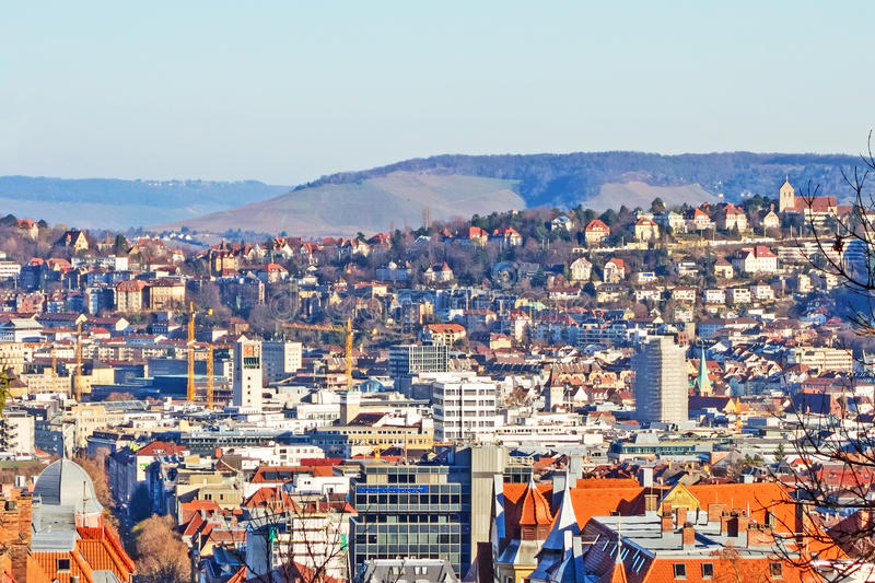 View over Stuttgart, townhall, city center royalty free stock image