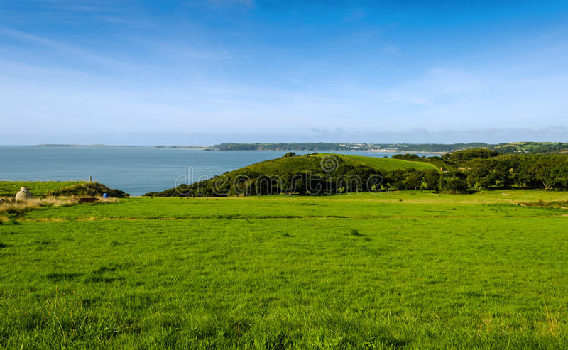 View over Tenby and Caldey Island - Wales, United Kingdom stock image