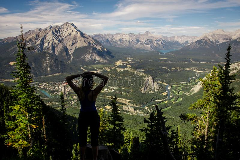 View over the town of Banff around Banff Gondola and the Canadian Rockies seen from Sulphur Mountain in the Rocky Mountains, Banff royalty free stock photo