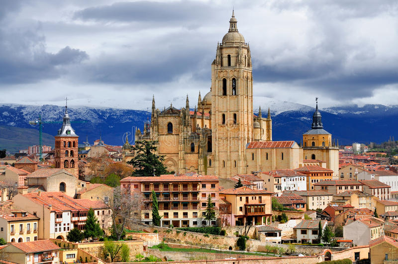 Segovia Spain Cathedral And Town Center Stock Photo Image of