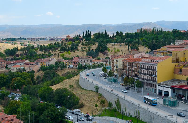 View over the town of Segovia, Spain stock photos