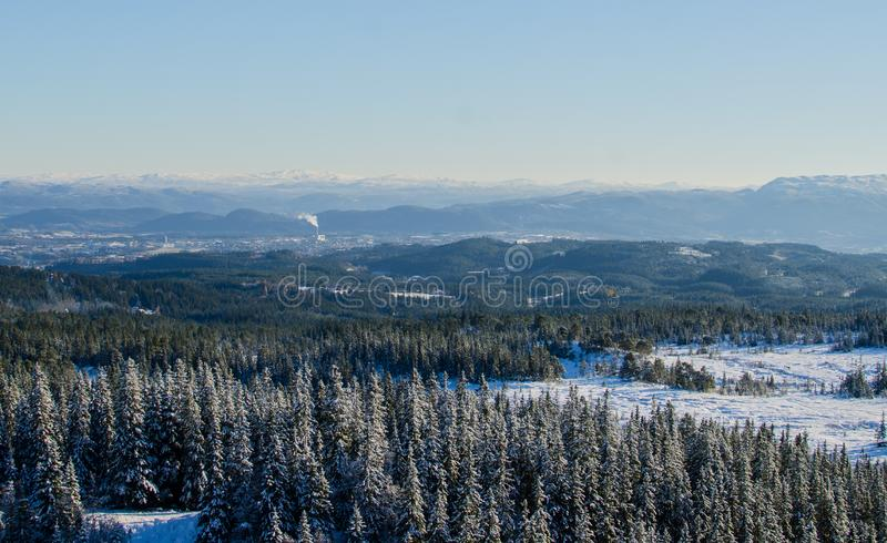 View over Trondheim city landscape covered with snow royalty free stock photos
