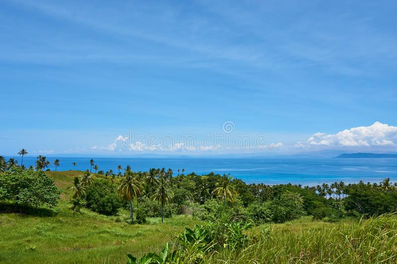 View over Tropical Island, Siargao Island Landscape royalty free stock photo