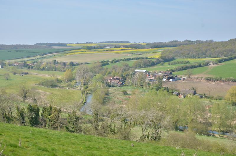 A view over valley in English country side stock photo
