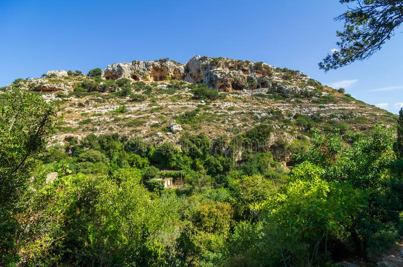View over the valley of Myli, Crete stock images