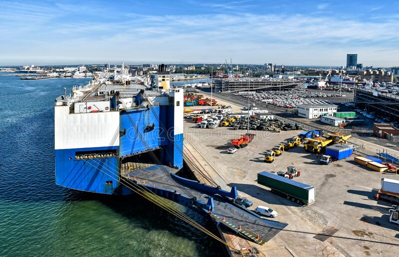 Vehicle terminal in the port of Southampton in the United Kingdom. View over the vehicle terminal in the port of Southampton in the United Kingdom. A large royalty free stock images