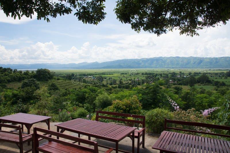 View over vineyard near inle lake in burma myanmar stock photo